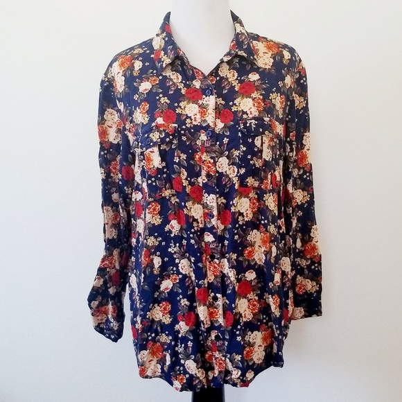 Faded Glory Floral Button Up